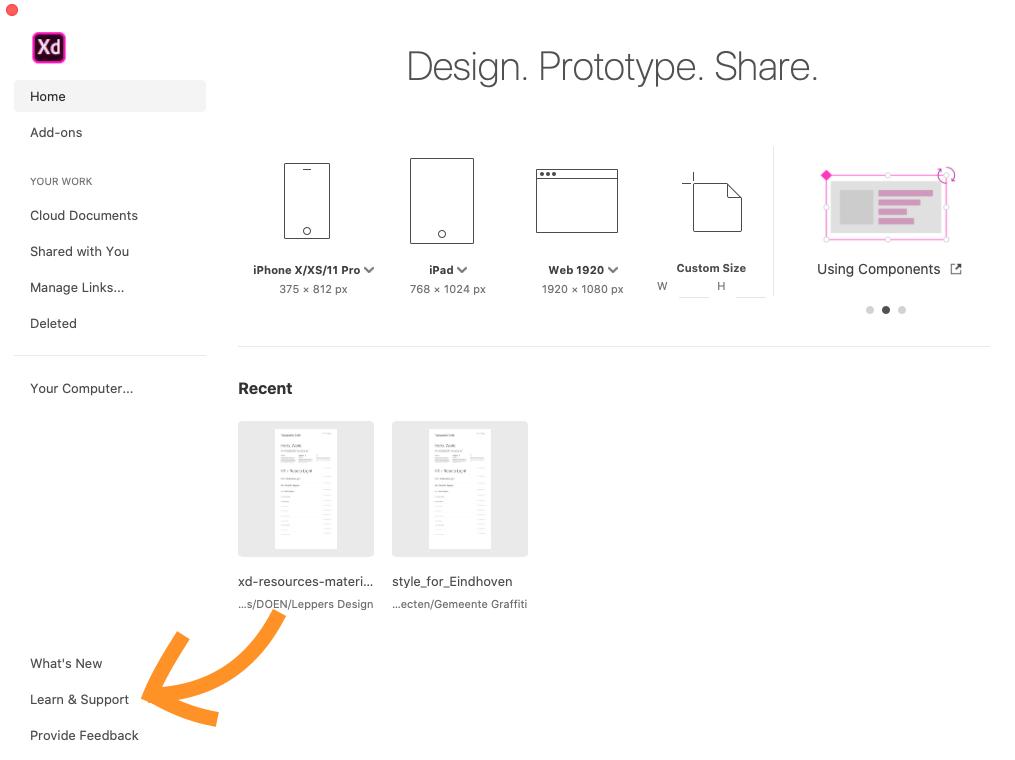 Weergave startscherm Adobe XD voor web design